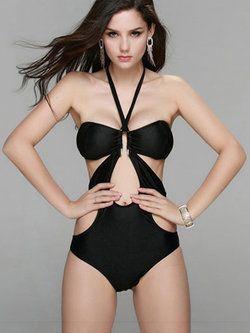 Plain Padded Halter One-Piece #Swimwear