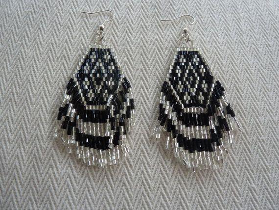 Bohemian Style Seed Beaded Fringe Earrings in Black & by amezti