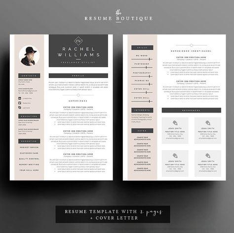 3 Seitiges Resume CV Template Cover Von TheResumeBoutique