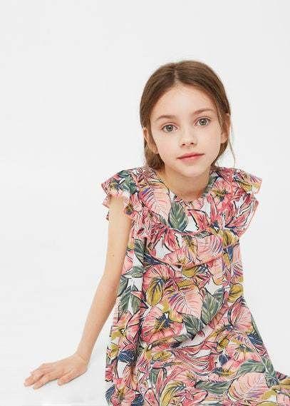 MANGO KIDS Ruffle Printed Dress