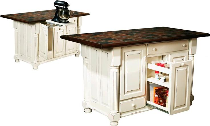 Amish turned leg island with two doors and two drawers