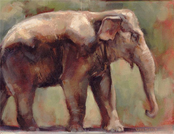 Joe Weatherly Indian Elephant Oil Painting Hand