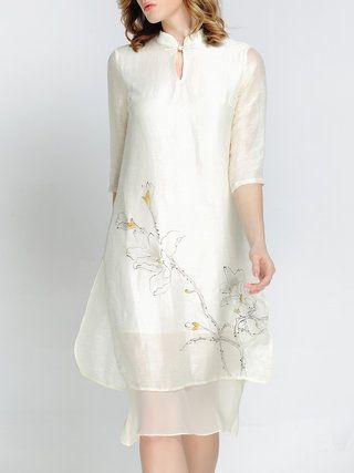 White Silk Vintage Floral Midi Dress