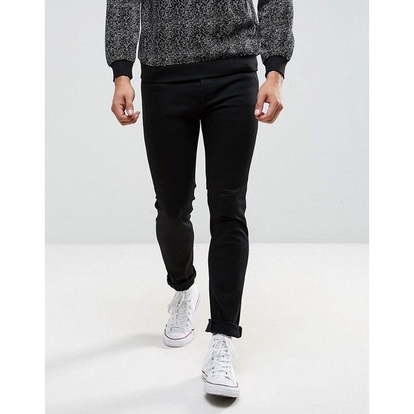 Selected Homme Jeans in Skinny Fit ($98) ❤ liked on Polyvore featuring men's fashion, men's clothing, men's jeans, black, mens tall jeans, mens jeans, mens skinny fit jeans, mens flap pocket jeans and mens skinny jeans