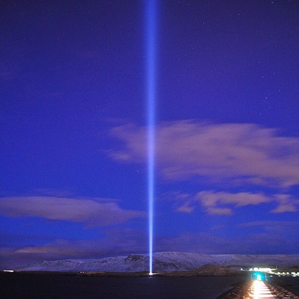 IMAGINE PEACE TOWER is lit in Iceland. Watch live & send in your wishes at http://IMAGINEPEACETOWER.com  #ImaginePeace #Reykjavik #ImaginePeaceTower #Wish #JohnLennon #Fridarsulan #YokoOno #Iceland #Imagine #Videy #cloud #sky #blue #pink #snow
