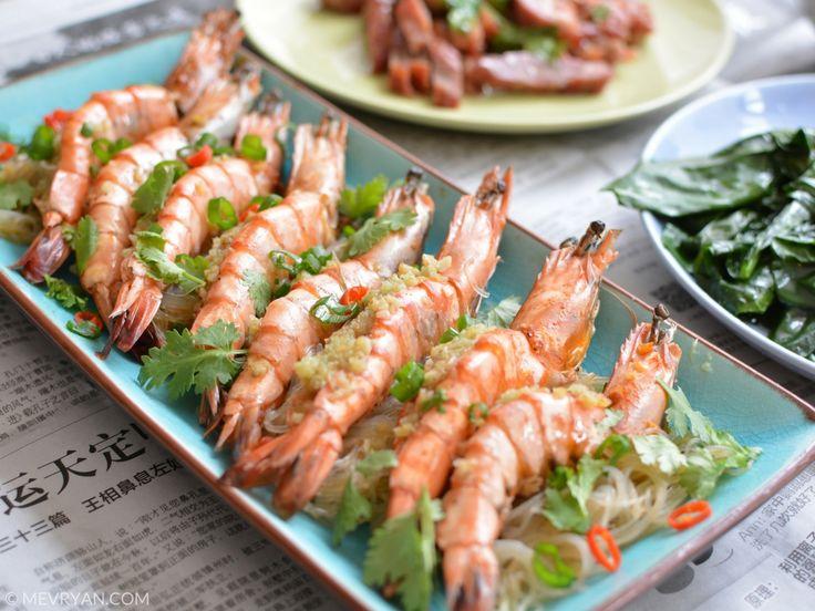 Chinees recept gestoomde garnalen in knoflookboter.  #Chinese #recepten #gerechten #garnalen #knoflookboter #Aziatisch #stomen #koken