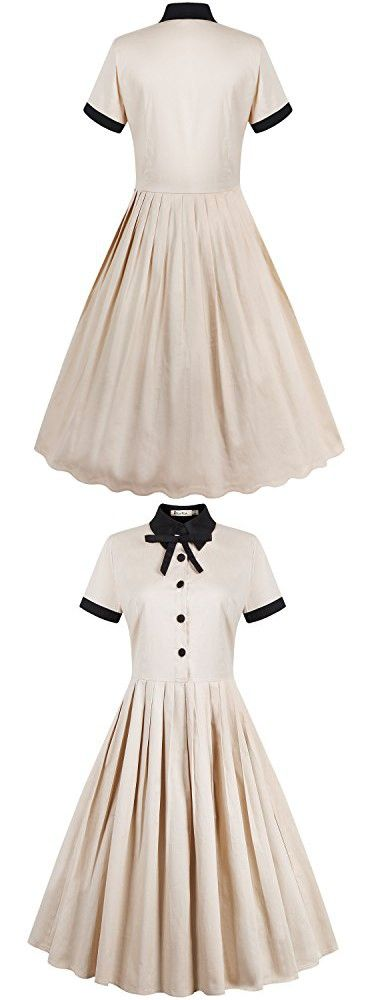 REORIA Womens 1950s Vintage Short Sleeve Modest Casual Swing Cocktail Dress Khaki 3X
