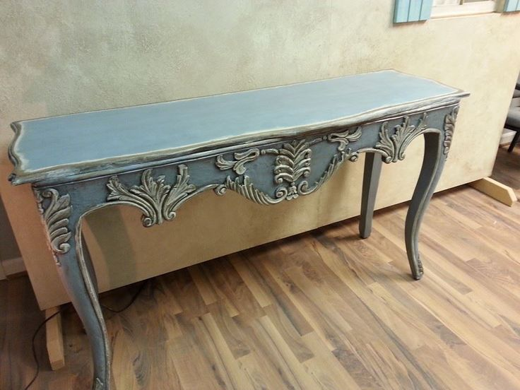 Gorgeous Painted console using farmhouse paint colors french blue, white ash and teastain and distressed