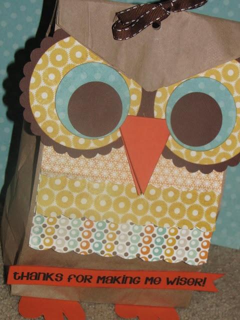Teachers - Thanks for making me 'wiser'!Teacher Gifts, Gift Bags, Treats Bags, Teachers Gift, Paper Bags, Teachers Appreciation, Gift Ideas, Owls Gift, Owl Bags
