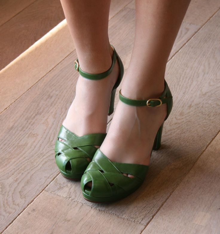 green.  They have heels so I probably can't wear them, but these are CUTE