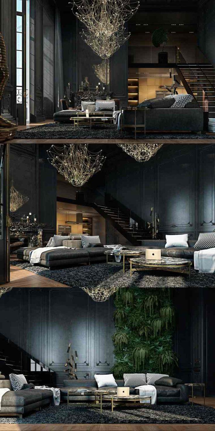 ide de dcoration de salon noir ultra moderne