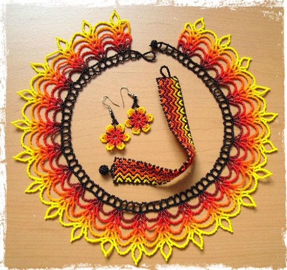 Sunshine+beaded+necklace+set++Native+Art++Huichol+by+Dimicreativa,+$69.00
