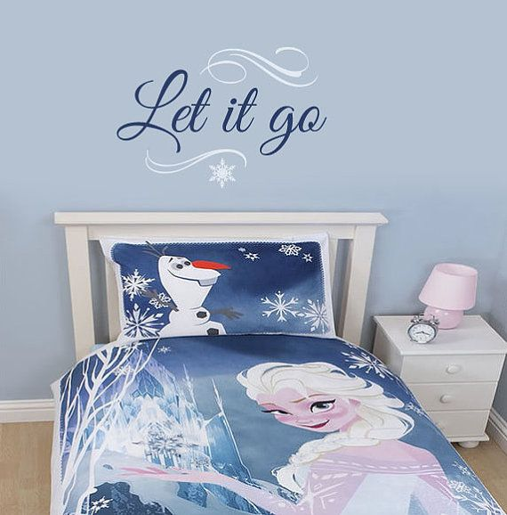 Disney Frozen wall decal - Let it go by wildgreenrose.etsy.com Frozen bedroom decor, inspired by the Disney movie Frozen, about two sisters Anna and Elsa