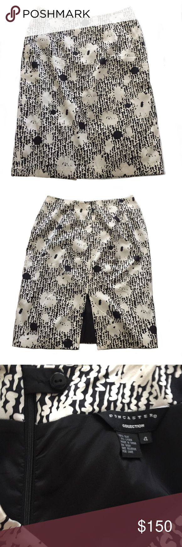 Doncaster Black and Ivory Silk Floral Pencil Skirt Doncaster Black and Ivory Silk Floral Pencil Skirt - Fully Lined -92% Silk - Lycra for Comfort and Stretch - Back Slit - Hidden Back Zipper  Size: 4 Condition: Like New  Make an Offer or Bundle with 2 Items for 20% Off. Doncaster Skirts Pencil