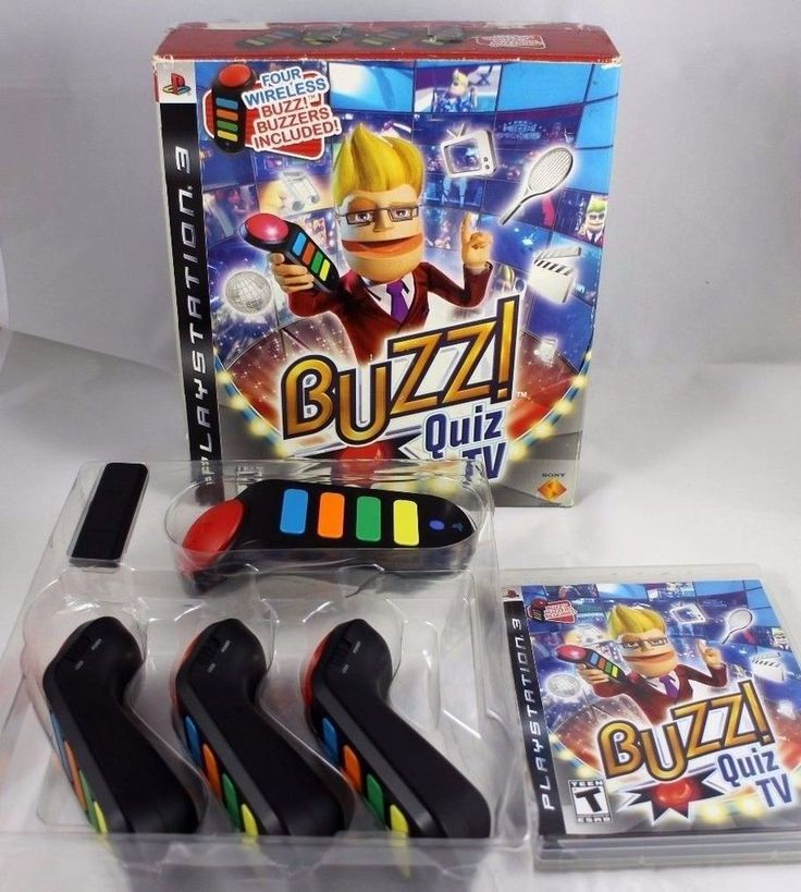 PS3 Wireless BUZZ! Quiz TV Game Bundle LOT 4 Buzzers DISK & DONGLE