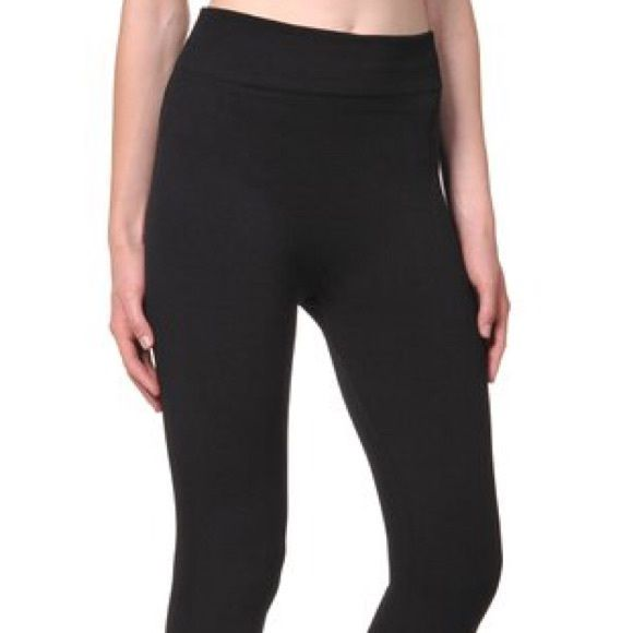 Black leggins Warm and fuzzy inside black, brand new one size fits most ankle length Pants Leggings