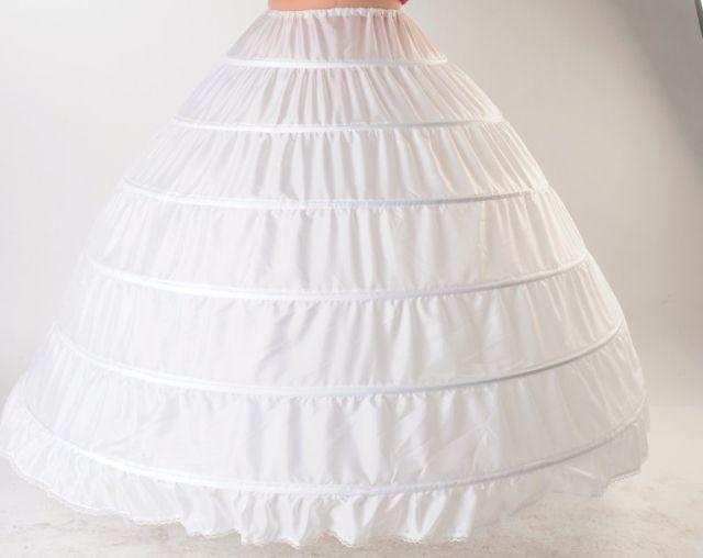 زائد حجم كبير 6 العروس فستان الزفاف العديلات الصلب اضافية كبيرة زلة الصلب الأبيض 6 الأطواق ثوب نسائي قماش قطني زلة تحتية