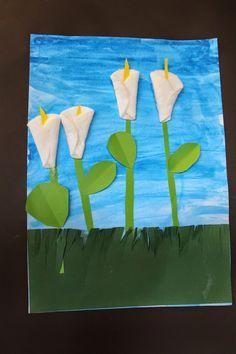 Frühlingsblumen aus Wattepads und Buntpapier  http://www.klassenkunst.com/2015/04/fruhlingsblumen.html