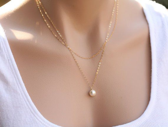 On Sale! $5.90, Pearl Pendant Double Chain Necklace in Gold/Silver