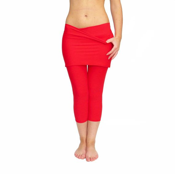 Black and Extra Large please. Skirted Yoga Pants Skirted Leggings Red Yoga Tights by AncyShop