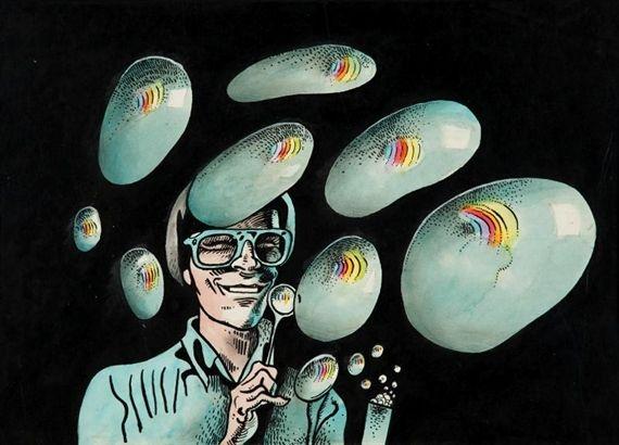 Artwork by Kaja Saudek, Bubble blower, Made of ink drawing, watercolour, aniline dyes