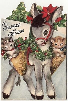 Vintage Christmas Card (1940's) Cute Donkey & Kittens Die-Cut by Rust Craft