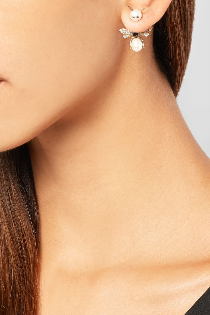 Yvonne Léon|18-karat gold, pearl and diamond earring|NET-A-PORTER.COM