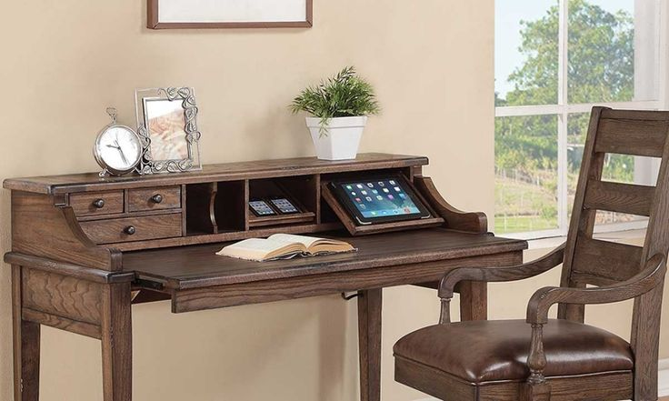 Writing Desk features grab & go charging station, expandable work space, and smart top desk height