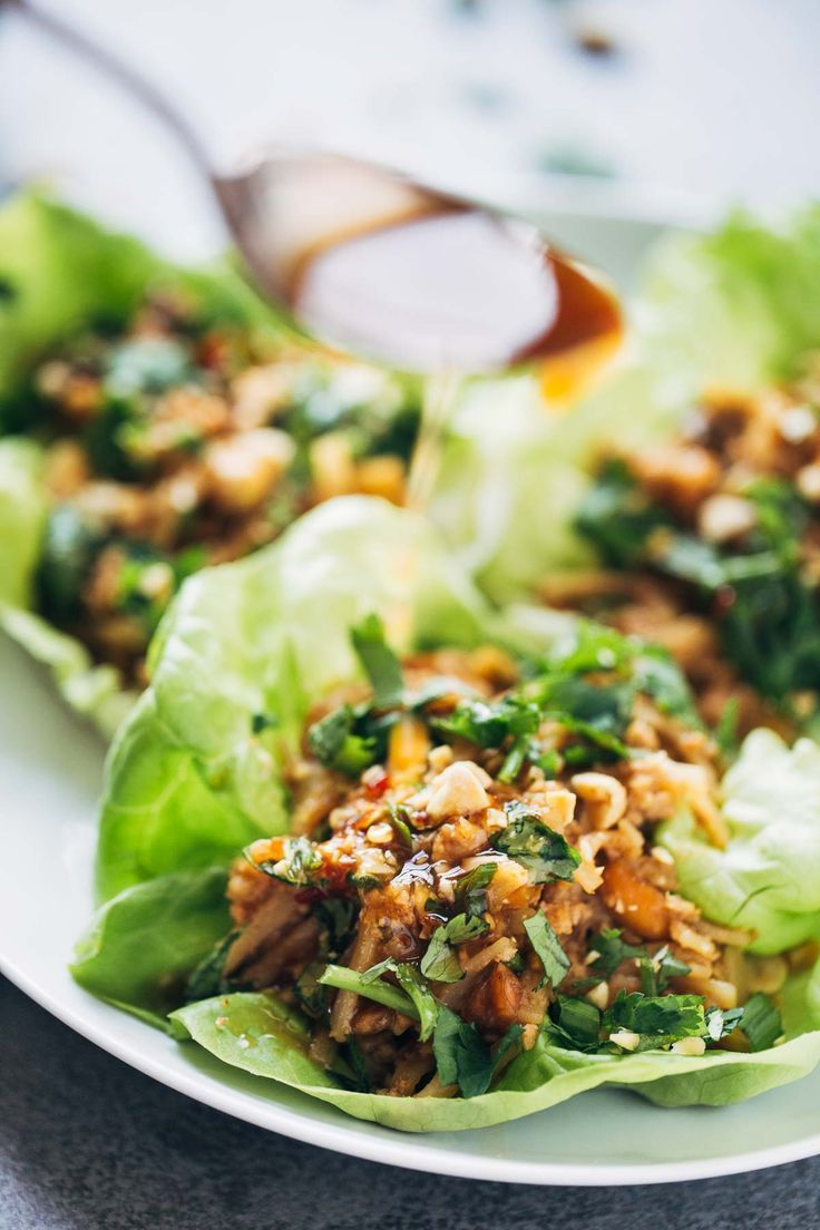 Peanut Chicken Lettuce Wraps with a Ginger Garlic Sauce by pinchofyum