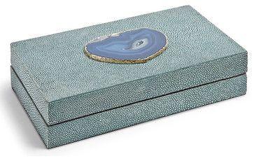 Destin Coastal Beach Turquoise Shagreen Blue Agate Rectangle Decorative Box - Sm transitional-decorative-boxes
