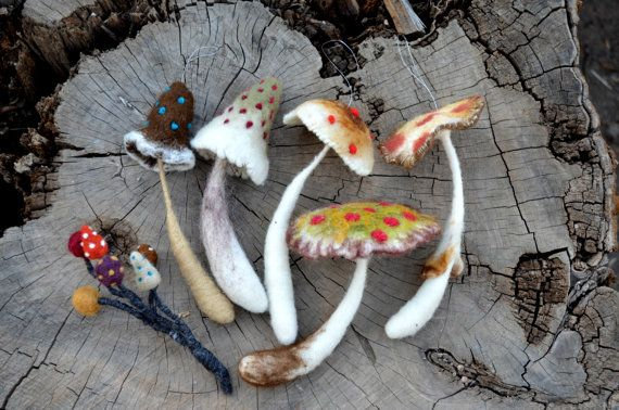 Needle Felted mushrooms- by Harthicune