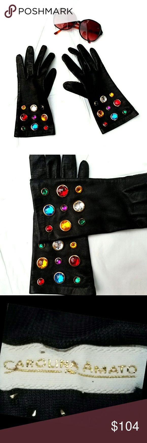 Xxl black leather gloves - Vtg Carolina Amato Bejeweled Black Leather Gloves