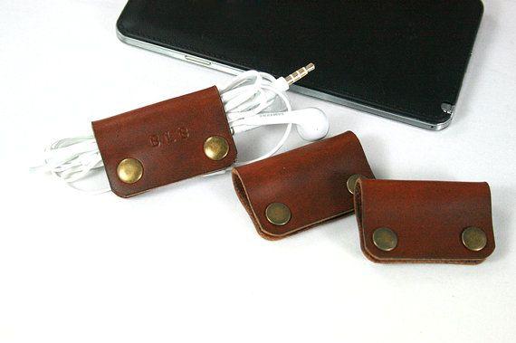 SALE 3x Engraved Leather Earphone organizer, Cable winder, Earbud organizer, Earpiece& Cable organizer,Earbud holder,Earphone cord organizer