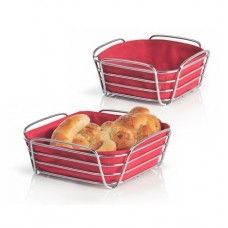 DELARA Bread Basket - Red Price: £21.00 The Blomus Delara polished chrome bread basket includes a fabric lining to help you enjoy your meals without scattering crumbs all around.     Available in a range of colours      This item measures 20cm x 20cm x 9.5cm     Comes gift boxed