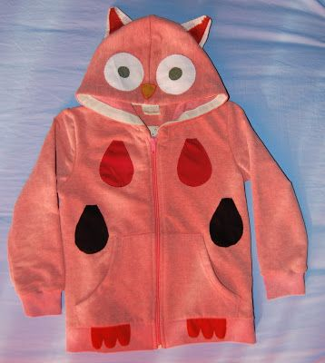 Children owl hoodie with appliques. Materials: Cotton fabric