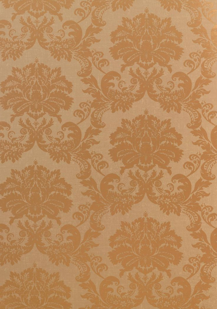 SYMPHONY DAMASK, Metallic Gold on Light Brown, T7635, Collection Damask Resource…