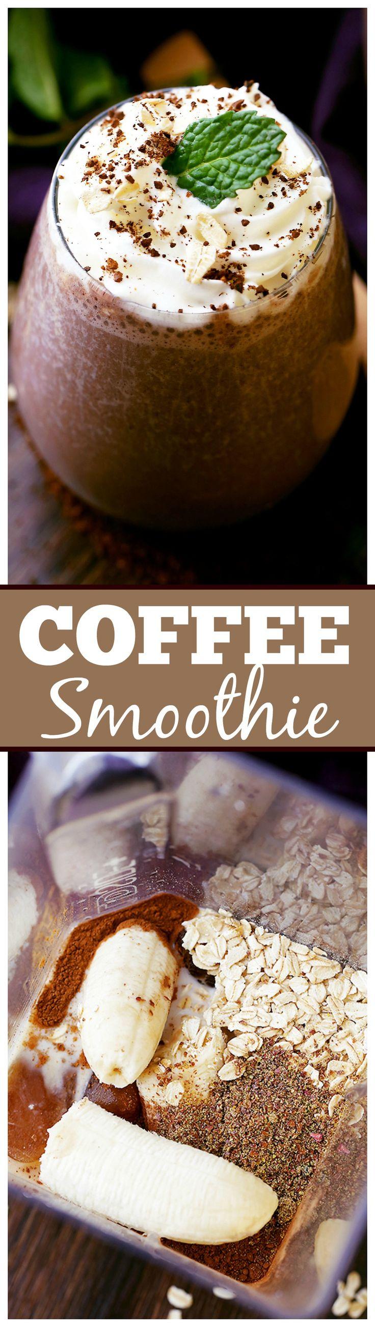 LICUADO DE CAFE 1 taza de fuerte café preparado congelado, 1 guineo, 1/4 de taza avena,  1 cuch. cacao en polvo, 1/8 cucht. de canela molida,  1 taza leche (regular, almendras o soja),  1 cucharadita de miel. INSTRUCCIONES:  Combinar todos los ingredientes en una licuadora , incluidos los cubos de hielo de café y mezcla hasta que quede suave . Endulzar al gusto y servir.