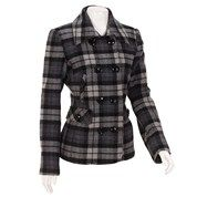 Woolen Plaid Peacoat Petite 182509163 | Wool | Women | Burlington Coat Factory