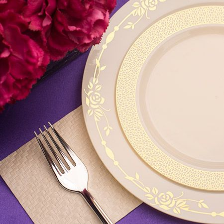 1242 10.25in Rose Ivory Gold Plastic Dinner Plates