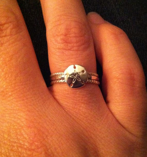 Sand Dollar Stacking RIng Set Beach Jewelry by MountainMetalcraft