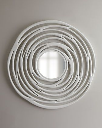 Abstract White Circular Mirror at Horchow.: Maria S Favorite, Organizing Decorating Ideas, Mirrors Crijstal Glass, Horchow, Abstract White, White Circular, Circular Mirror, White Mirrors, Wall