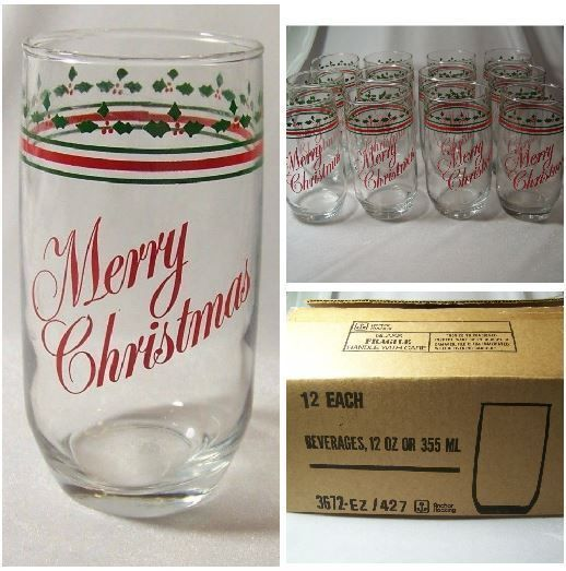 12 Anchor Hocking Merry Christmas Tumblers Glasses 12 oz in Box Red Green Holly #Christmas