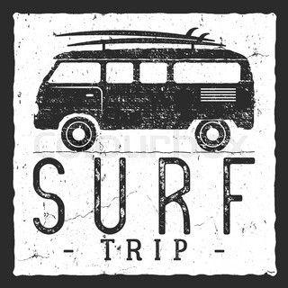 Surf trip concept. Vector Summer surfing retro badge. Beach surfer emblem , rv outdoors banner, vintage background. Boards, retro car. Surf icon design. For summer surf Logotype, label, party brochure