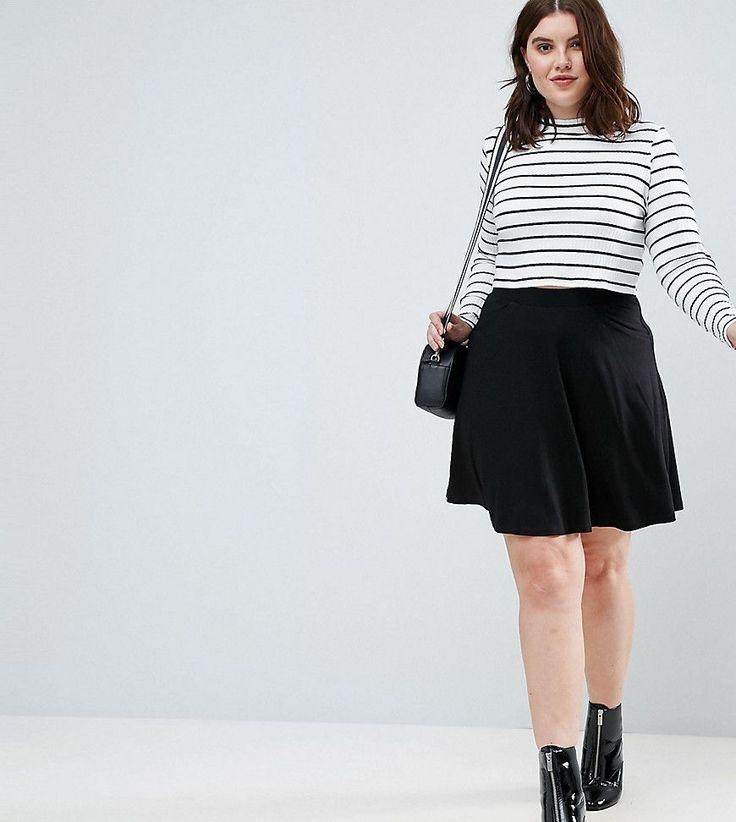 ASOS CURVE Mini Skater Skirt with Pockets - Black
