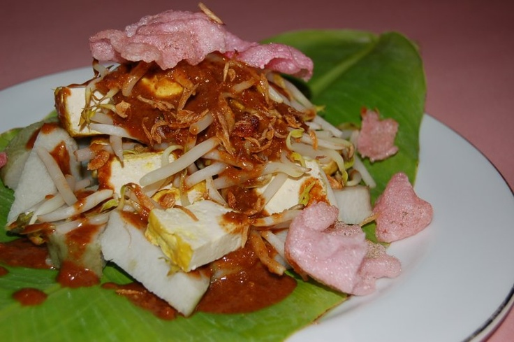 Kupat tahu Bandung (rice ball with bean sprouts, crackers, fried tofu and peanut sauce)