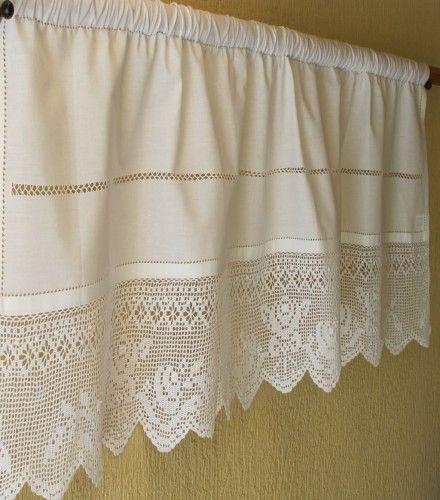 Πλεκτή Κουρτίνα Bistro - Λαμπρικέν Corina 2 White 45 Υψος x100cm - Πλεκτές & Κοφτές Κουρτίνες - Κουρτίνες | Pennie®