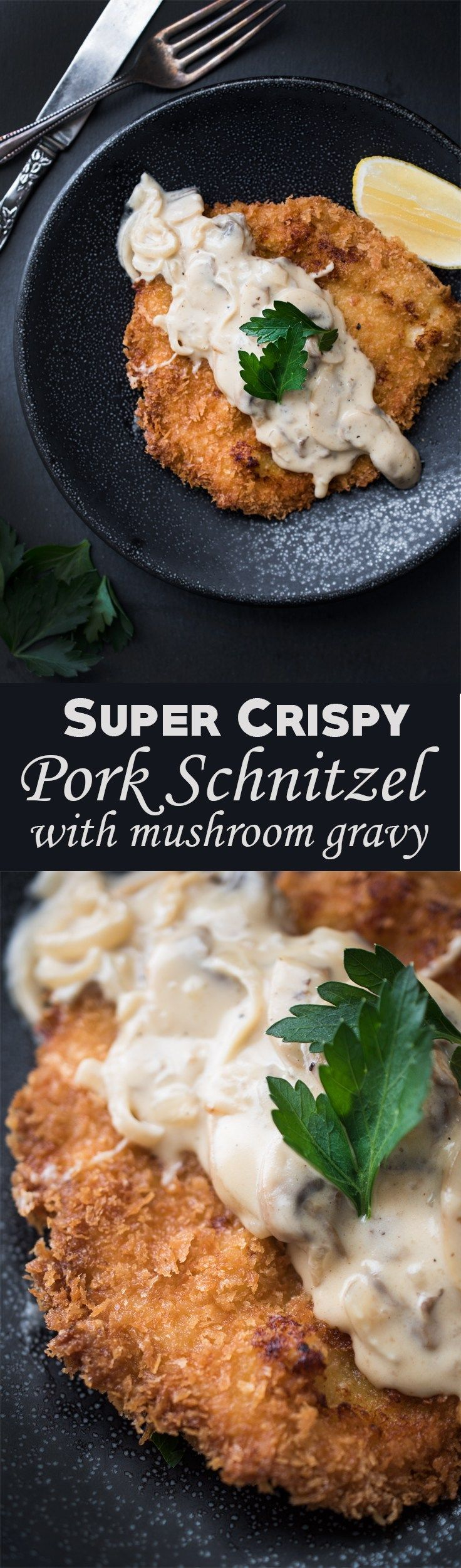 Pork Schnitzel with Mushroom Gravy - Battered, tender pork, fried until golden-brown and topped with a creamy mushroom gravy!