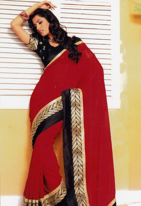 Red Sarees Simple border Work.