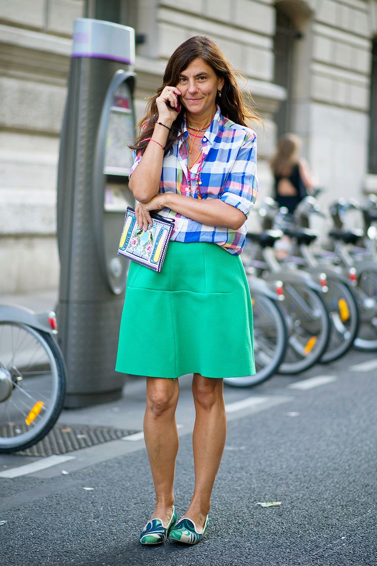 The Opposites-Attract Combo To Rely On This Summer #refinery29  http://www.refinery29.com/skirt-outfits#slide4  Your summer madras gets a little polish from a scuba-green skirt.
