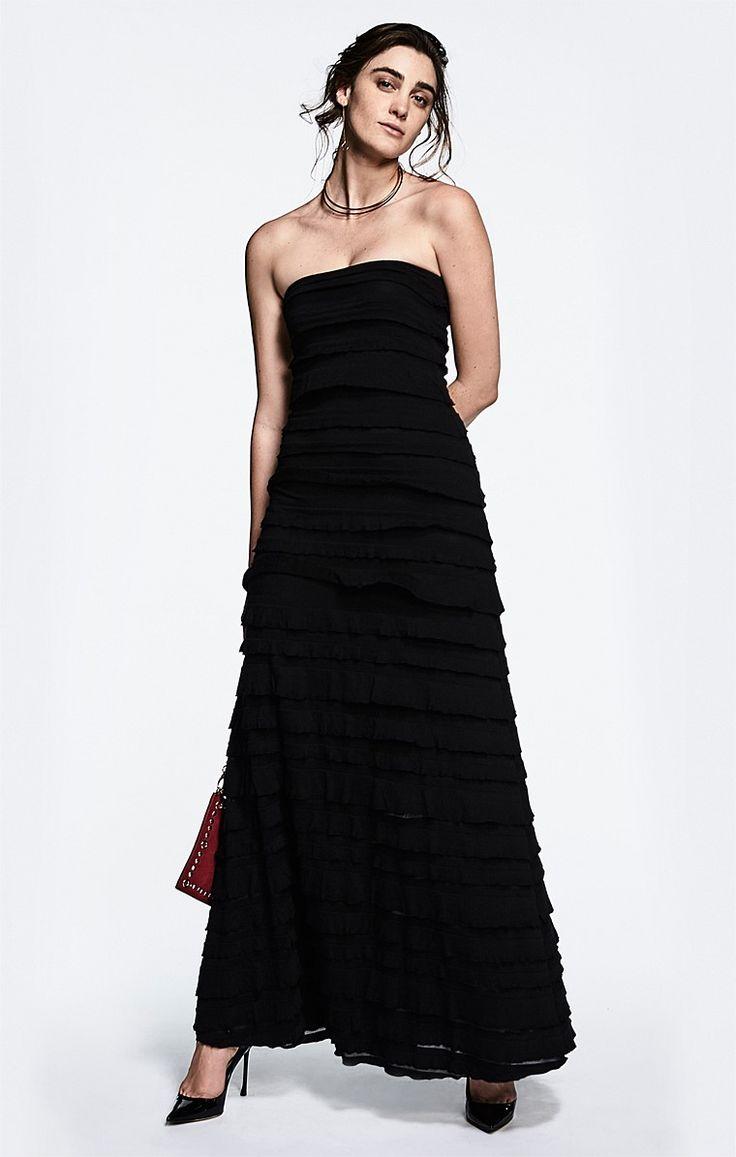 MADDISON STRAPLESS LONG RUFFLE STRETCH MAXI DRESS IN BLACK